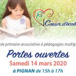 Portes ouvertes le samedi 14 mars de 15h à 17h à Pignan (34) / Cœur d'école